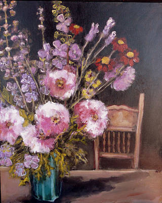 Flowers On The Kitchen Table Art Print by Juliet Mevi