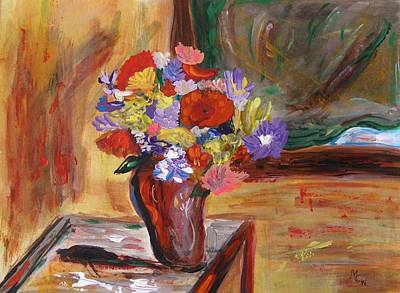 Primitive Drawing - Flowers On The Table By Green Shaded Windows by Mary Carol Williams