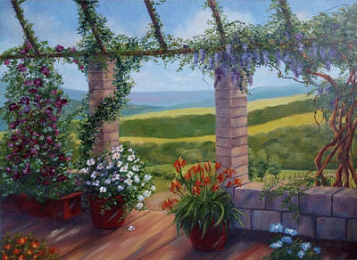Verandah Painting - Flowers On The Terrace Landscape by Katrin Aster