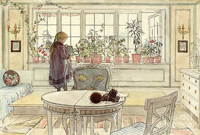 On Paper Painting - Flowers On The Windowsill by Carl Larsson