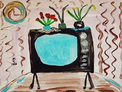 Painting - Flowers On Vintage Tv by Mary Carol Williams
