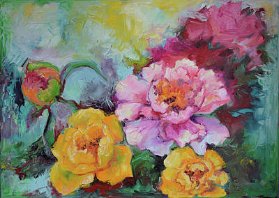 Rosen Painting - Flowers - Original Yellow Rose And Pink Peony Oil Painting by Soos Roxana Gabriela