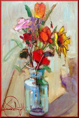 Contempory Art Galleries In Italy Painting - Flowers by Pelagatti