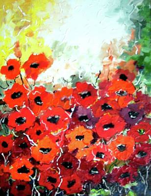 Painting - Flowers Poppies by Samiran Sarkar