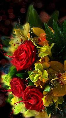 Digital Art - Flowers Roses Lilies And Friends  by Sheila Mcdonald