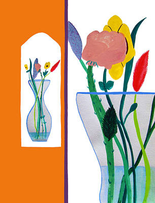 Two Vases Painting - Flowers Small And Big by Lee Serenethos