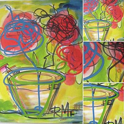 Expressionism Photograph - Flowers Sort Of. Painting On Canvas by Regia Marinho