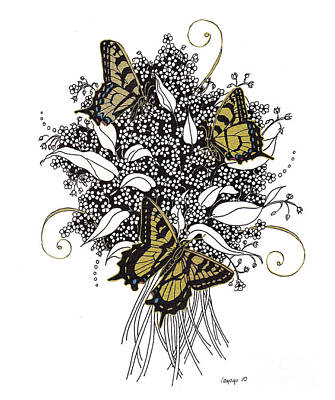 Art Print featuring the drawing Flowers That Flutter by Stanza Widen