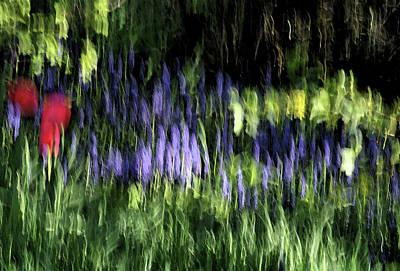 Flowers Thru Wavy Glass Art Print