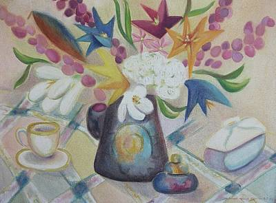 flowers Tin Vase and Tea Cup  Art Print by Suzanne  Marie Leclair