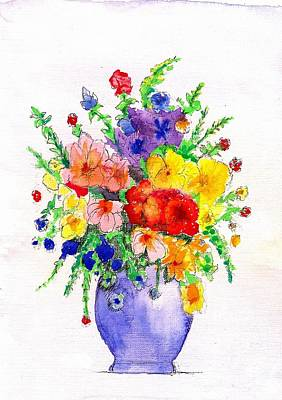Mixed Media - Flowers - Vase by Al Intindola