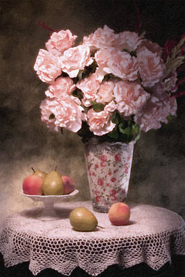 Vase Table Photograph - Flowers With Fruit Still Life by Tom Mc Nemar
