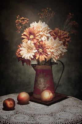 Old Pitcher Photograph - Flowers With Peaches Still Life by Tom Mc Nemar