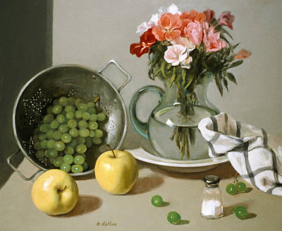 Painting - Flowers, Grapes And Apples On Balance by Robert Holden