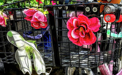Photograph - Flowery Bike Basket  by Kathleen K Parker