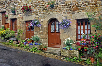 Flowery Doorways In Brittany Art Print by Dave Mills