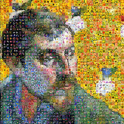 Digital Art - Flowery Gauguin Self Portrait by Gilberto Viciedo