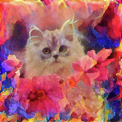Mixed Media - Flowery Kitty by Lilia D
