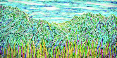 Digital Art - Flowing Green Mountains - Colorado Front Range by Joel Bruce Wallach