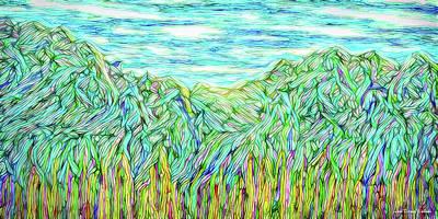 Digital Art - Flowing Green Mountains - Colorado Front Range by Joel Bruce Wallach