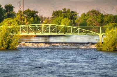 Flowing Kern River Walk And Bridge Art Print