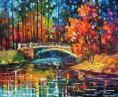 Flowing Under The Bridge  Art Print by Leonid Afremov