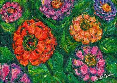 Painting - Flowing Zinnias by Kendall Kessler