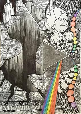 Zen Tangle Drawing - Floyd Tangled by Manon Zemanek