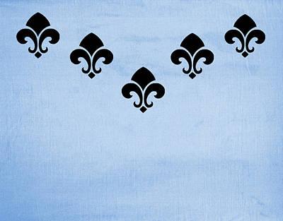 Fleur De Lis Digital Art - Fleur De Lis In Blue by Kathy Bucari