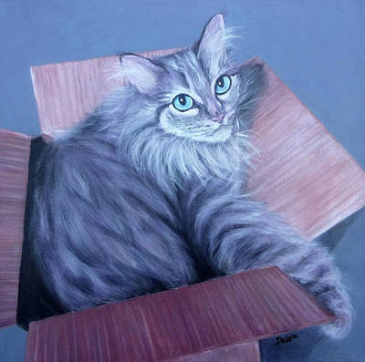 Painting - Fluff-in-the-box by Susan DeLain