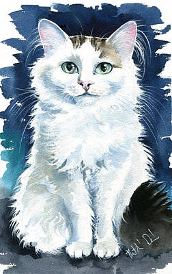 Painting - Fluff - Long Haired Cat Portrait by Dora Hathazi Mendes