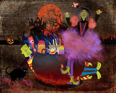 Goblin Mixed Media - Fluffnella The Magical Good Witch And Her Pot Of Goblins by Colleen Taylor