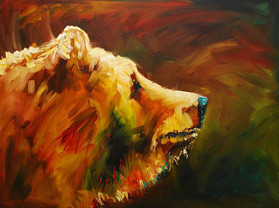 Grizzly Painting - Fluffy Bear by Diane Whitehead