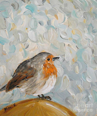 Impressionism Painting - Fluffy Bird In Snow by Maria Langgle