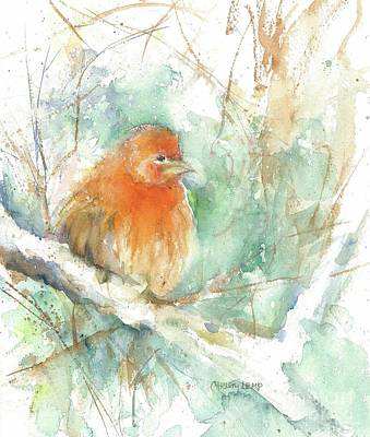 Painting - Fluffy Finch by Christy Lemp