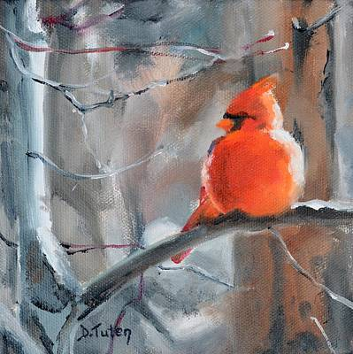Painting - Fluffy Little Cardinal by Donna Tuten
