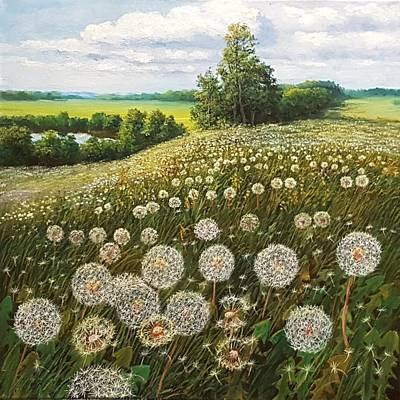 Wall Art - Painting - Fluffy Meadow by Oleg Riabchuk