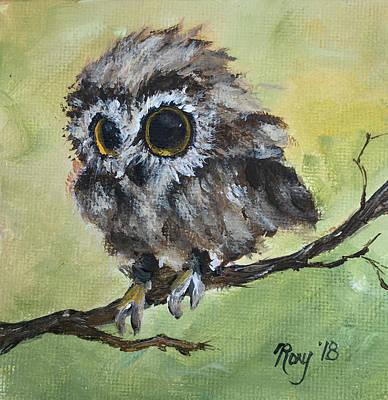 Fluffy Owl Chick Original