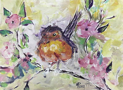 Yellow Painting - Fluffy Robin In Pink Cherry Blossoms by Roxy Rich