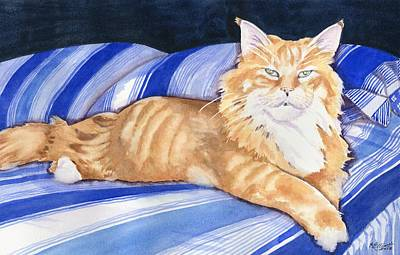 Feline Painting - Fluffy The Lioness by Marsha Elliott