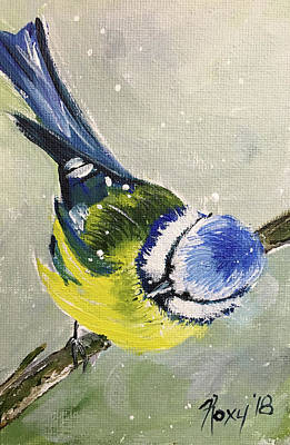 Blue Painting - Fluffy Uk Blue Tit Bird by Roxy Rich