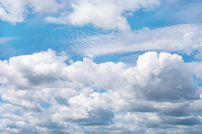 Photograph - Fluffy White Clouds In Blue Sky by Jenny Rainbow