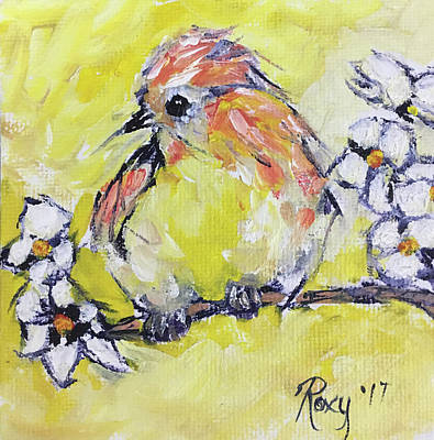 Yellow Painting - Fluffy Yellow Bird by Roxy Rich