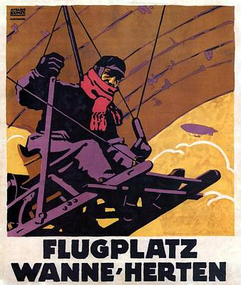 Royalty-Free and Rights-Managed Images - Flugplatz Wanne Herten - Airfiled - Germany - Retro travel Poster - Vintage Poster by Studio Grafiikka