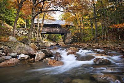White River Scene Photograph - Flume Covered Bridge by Eric Gendron