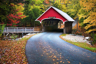 Photograph - Flume Covered Bridge In Autumn by Eric Gendron