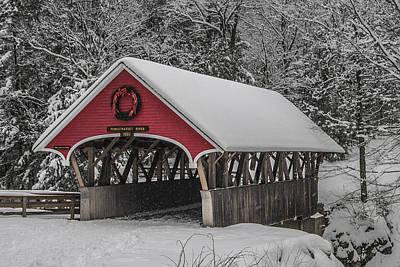 Flume Covered Bridge In Winter Art Print