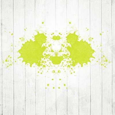 Fluorescent Yellow Rorschach Art Print by Brandi Fitzgerald