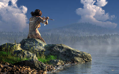 Flutist On The Lake Art Print