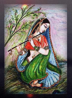 Painting - Flute Playing In - Krishna Devotion  by Harsh Malik